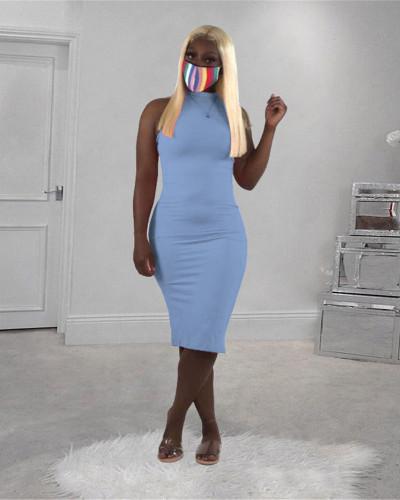 Light bule Solid color turtleneck sleeveless dress