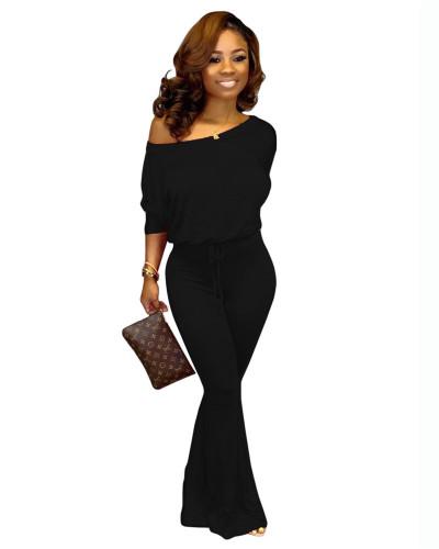 Black Fashionable casual solid color bat sleeve jumpsuit