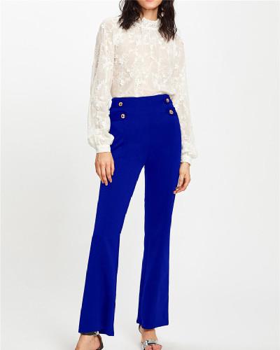 Blue Euro-American fashion casual wide-leg pants five colors