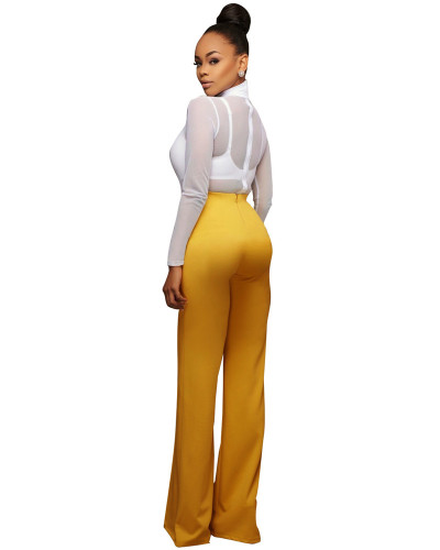 Yellow Euro-American fashion casual wide-leg pants five colors