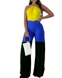 Yellow INS fashion casual hanging neck tricolor stitching jumpsuit