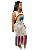 White 2020 summer fashion sexy mesh print perspective dress swimsuit beach skirt