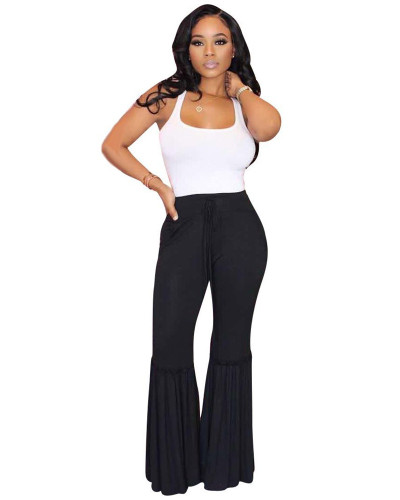 Black Casual striped big trousers