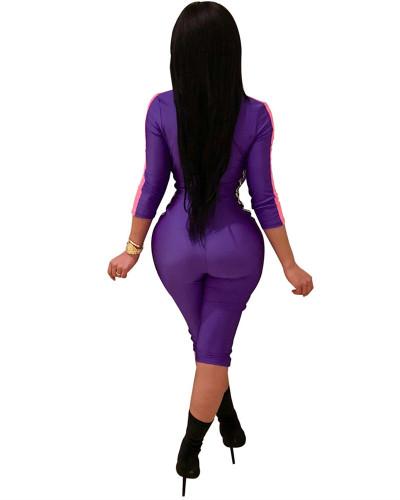 Purple 2020 INS Popular Elements Digital Print Contrast Sexy Jumpsuit
