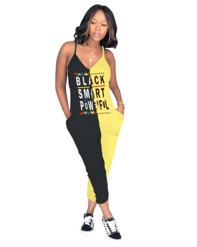 Yellow Spliced letter printed jumpsuit