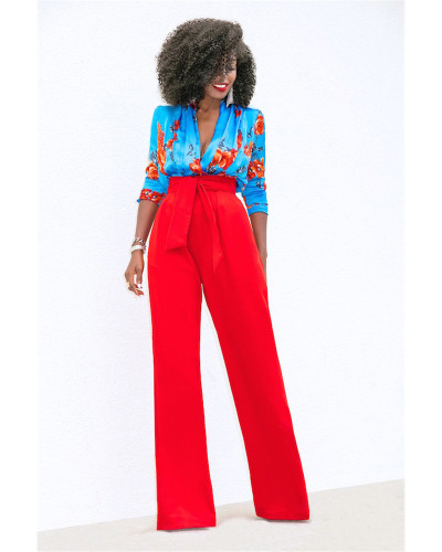 Red Casual flared wide-leg trousers