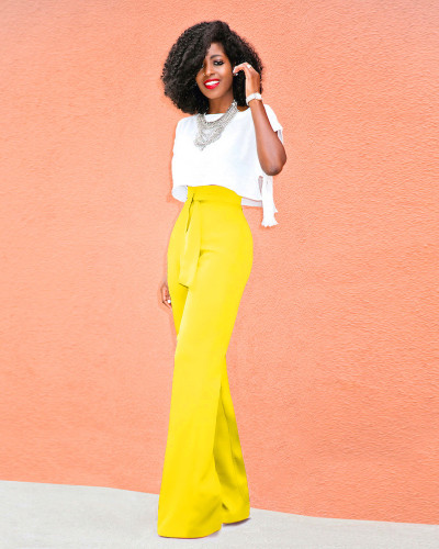 Yellow Casual flared wide-leg trousers