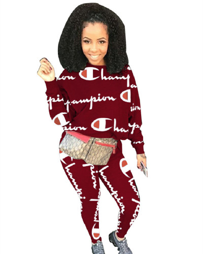 Red 2020 fashion sports and leisure round neck long sleeve breathable printed two-piece suit
