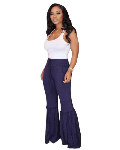 Violet Casual striped big trousers