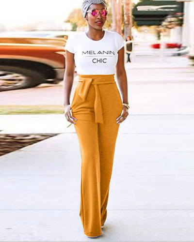 Orange Casual flared wide-leg trousers
