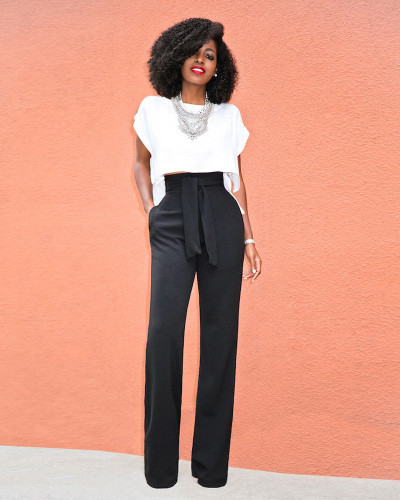 Black Casual flared wide-leg trousers