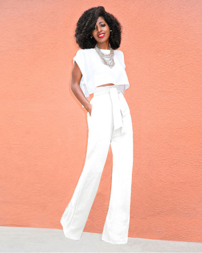 White Casual flared wide-leg trousers