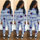 Grey 2020 fashion sports and leisure round neck long sleeve breathable printed two-piece suit
