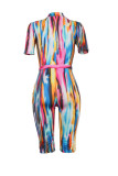 Fashion casual classic printed short sleeve sports jumpsuit
