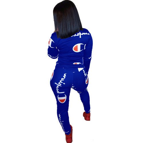 Blue 2020 fashion sports and leisure round neck long sleeve breathable printed two-piece suit