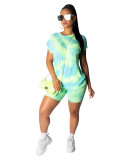 Green 2020 street stylish breathable casual printing fashion two piece set