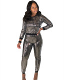 Silver Sexy sequins long sleeve multicolor suit