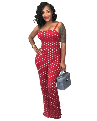 Red 2020 summer fashion sexy printed polka dot suspenders jumpsuit