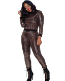 Brown Sexy sequins long sleeve multicolor suit