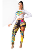 Black INS celebrity stylish long sleeve positioning printing two-piece