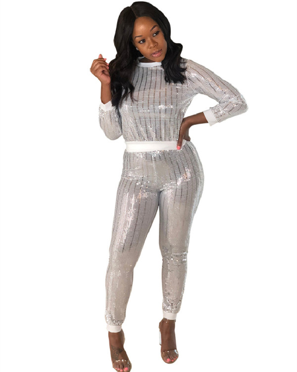 White Sexy sequins long sleeve multicolor suit