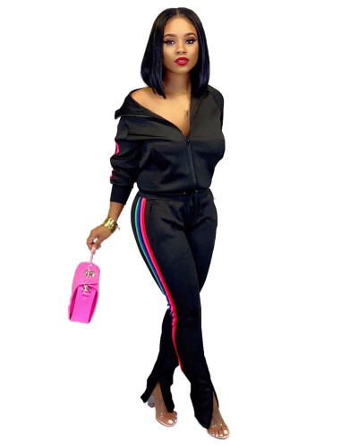 Black 2020 INS sports and leisure net expert fashion solid color flared pants two-piece suit