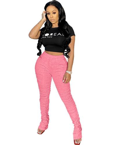 Pink 2020 solid color temperament casual mid-waist lifting hip elastic split fold pants