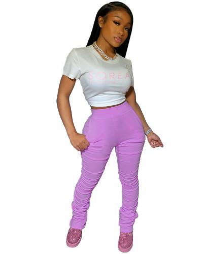 Violet 2020 solid color temperament casual mid-waist lifting hip elastic split fold pants