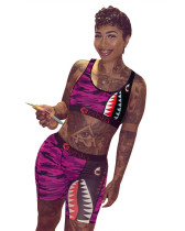 Pink Sports and leisure camouflage two-piece suit