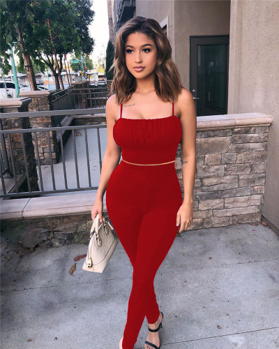 Red Two-piece slim-fit strapless trousers