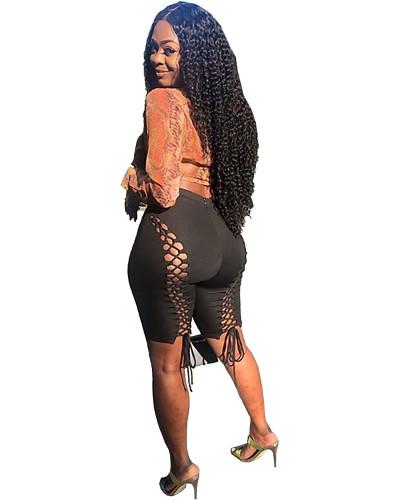 Black Sexy solid color strap hollow nightclub style slim wild shorts