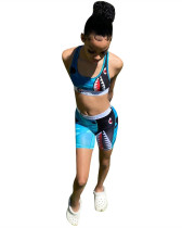 Blue Sports and leisure camouflage two-piece suit