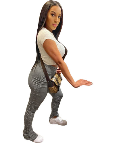 Grey  2020 solid color temperament casual mid-waist lifting hip elastic split fold pants