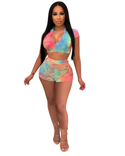 INS Rainbow Print Fashion Expert Casual Two Piece Set