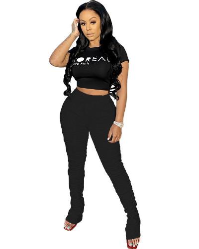 Black 2020 solid color temperament casual mid-waist lifting hip elastic split fold pants