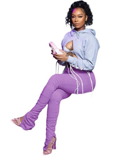 Purple 2020 solid color temperament casual mid-waist lifting hip elastic split fold pants