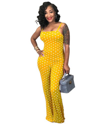 Yellow 2020 summer fashion sexy printed polka dot suspenders jumpsuit