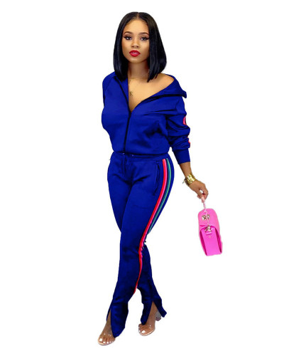 Blue 2020 INS sports and leisure net expert fashion solid color flared pants two-piece suit