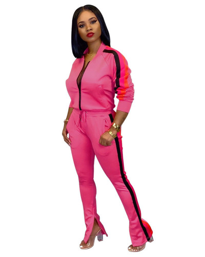 Rose Red 2020 INS sports and leisure net expert fashion solid color flared pants two-piece suit