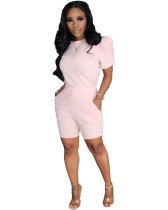 Pink Solid color round neck pleated sleeve pocket tied wide loose short sleeve shorts sports two-piece suit