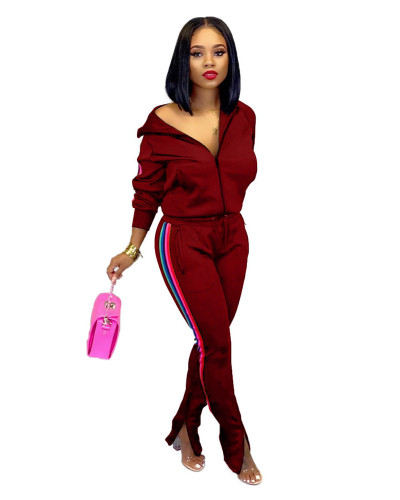 Red Wine 2020 INS sports and leisure net expert fashion solid color flared pants two-piece suit
