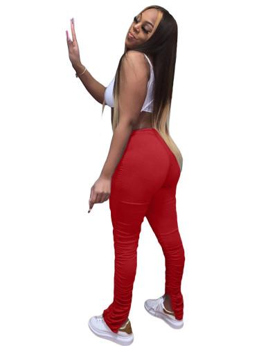 Red  2020 solid color temperament casual mid-waist lifting hip elastic split fold pants