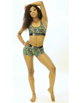 Green Digital letter print hot sale two-piece swimsuit