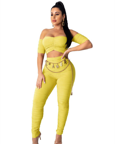 Yellow INS fashion sexy tube top exposed navel fold solid color two-piece suit