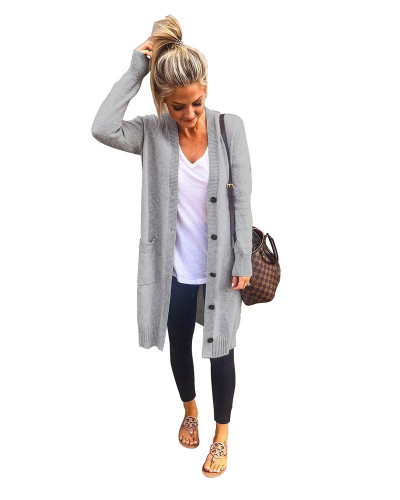 Grey INS autumn fashion casual pocket button knit cardigan sweater coat