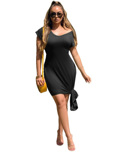 Black Slim solid color dress