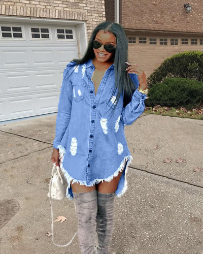 Shredded tassel denim dress