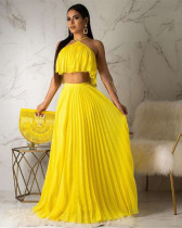 Yellow Pleated high temperature stereotyped two-layer fabric mainstream two-piece suit