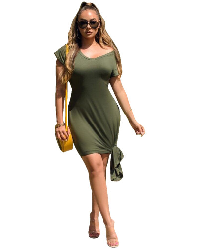 Green Slim solid color dress