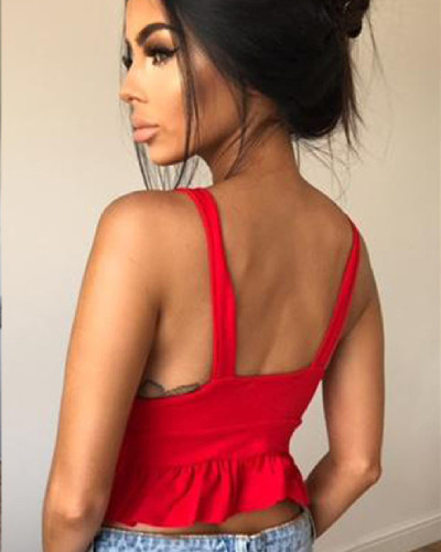 Red Summer 2020 Strapless Sleeveless Backless Fungus Hem Top